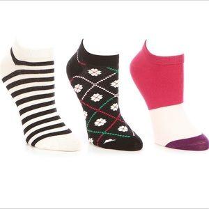 Kate Pade No Show Spade Flower Socks 3 Pack
